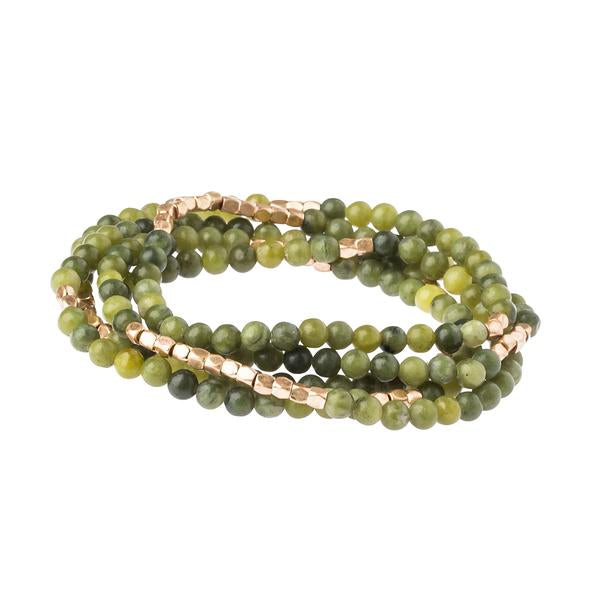 Stone Wrap Bracelet/Necklace - Jade/Gold - Stone of Dreams