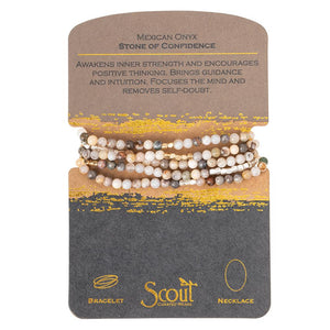 Stone Wrap Bracelet/Necklace - Mexican Onyx/Silver & Gold - Stone of Confidence