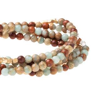 Stone Wrap Bracelet/Necklace - Aqua Terra Gold/Silver - Stone of Peace