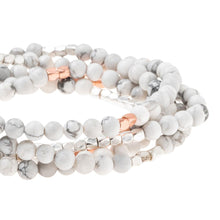 Stone Wrap Bracelet/Necklace - Howlite Rose Gold/Silver - Stone of Harmony