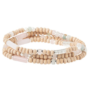 Wood, Stone & Metal Wrap Bracelet/Necklace - Rose Quartz/Silver