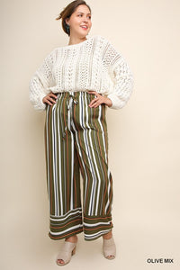 Striped Wide Leg Trouser Pant Plus