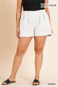 High Waist Folded Shorts with Pockets