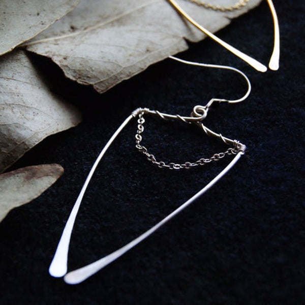 Enclosed Chain Drop Earrings