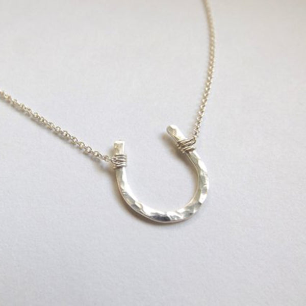 Mini Rippled Horseshoe Pendant