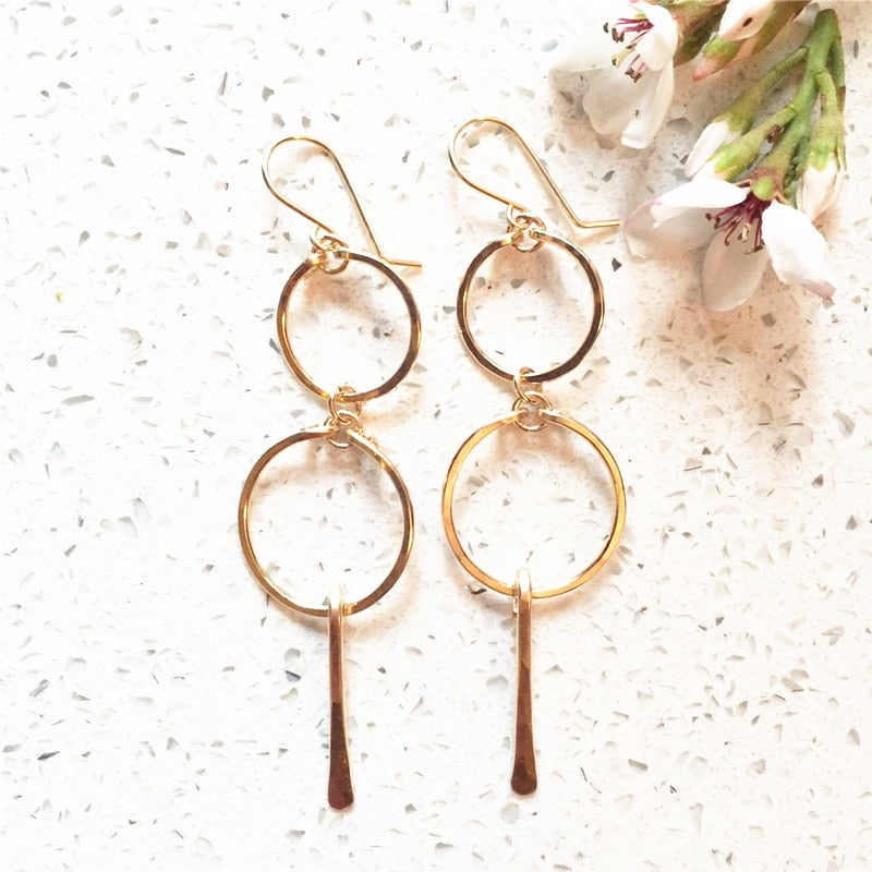 Handmade Lined Hoop Earrings