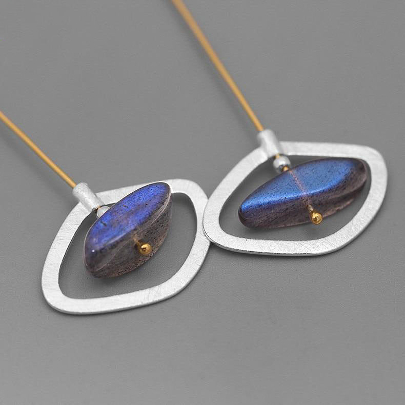 Starry Eye Drop Earrings with Labradorite