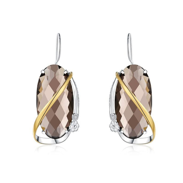 Wrapped Smoky Quartz Earrings