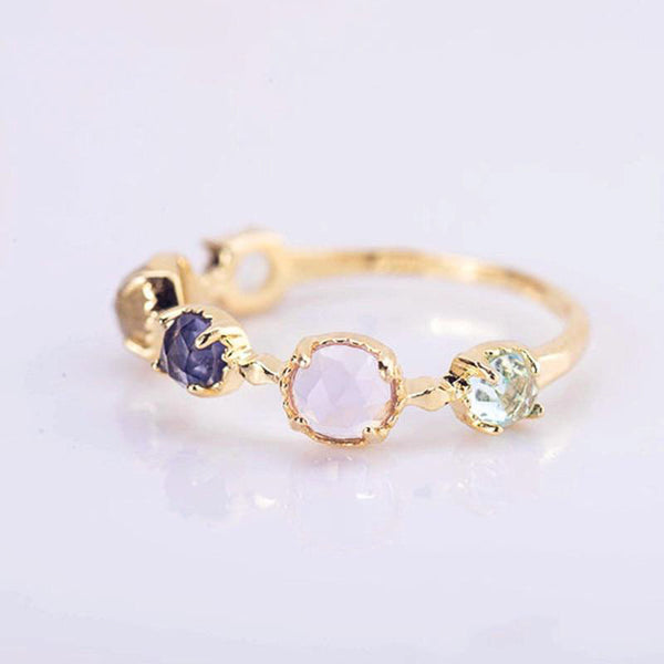 Gold Hue Multi Gem Ring