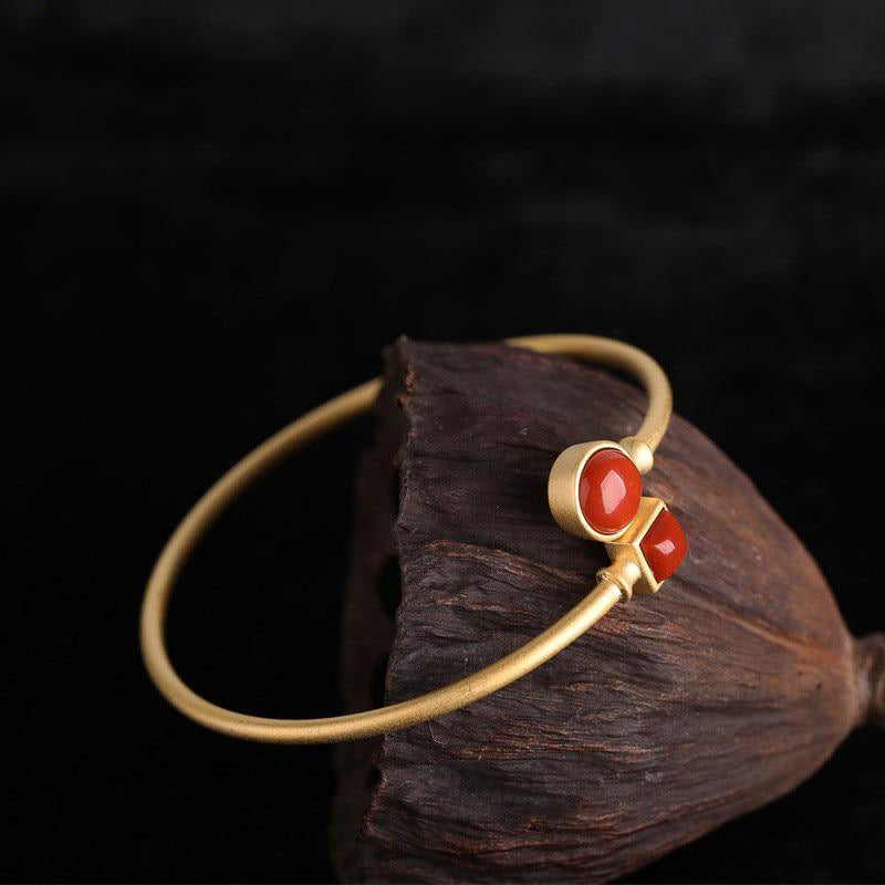 Crossover Shape Mute Gemstone Bracelet in Red Agate