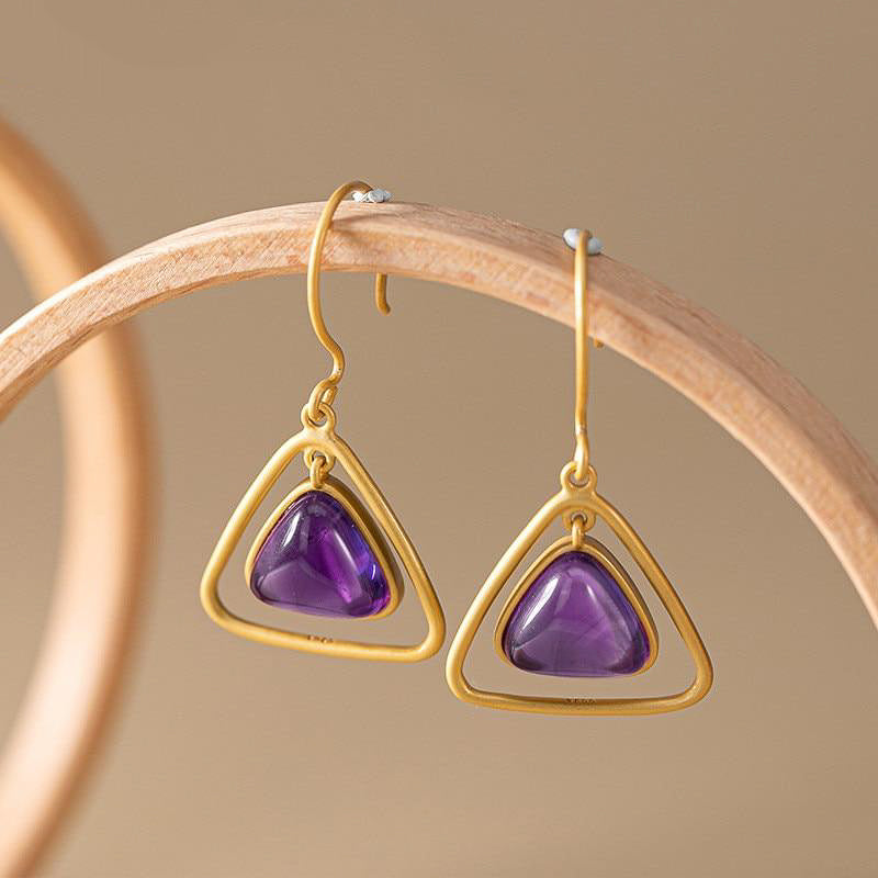 Tri Mute Gemstone Earrings