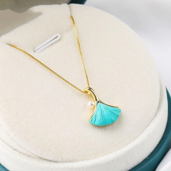 Pearl Turquoise Feather Pendant