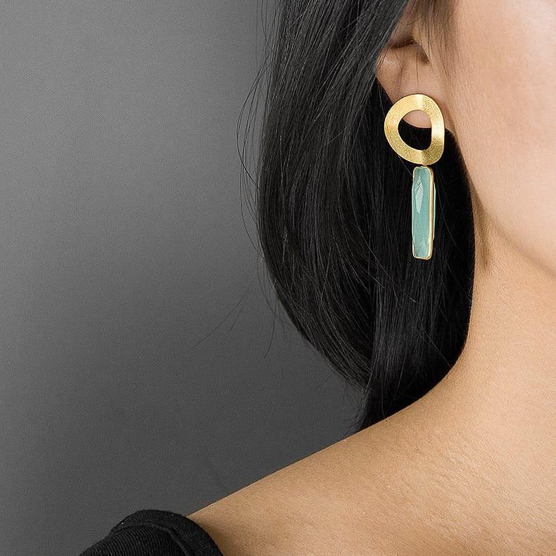 Gold Ring Drop Earrings