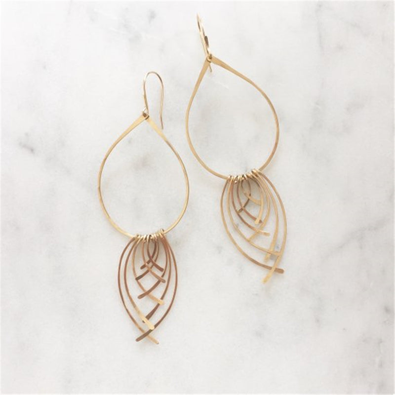 Fin Hoop Tassel Earrings