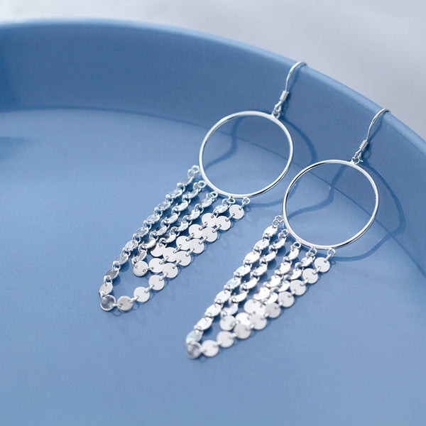 Linked Coin Hoop Earrings