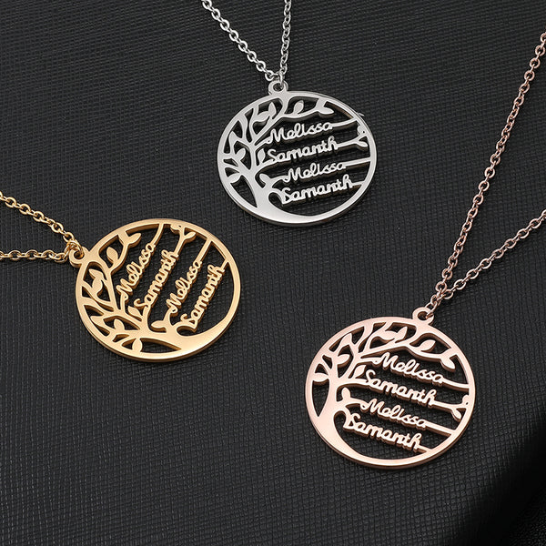 Family Tree Stainless Steel Necklace