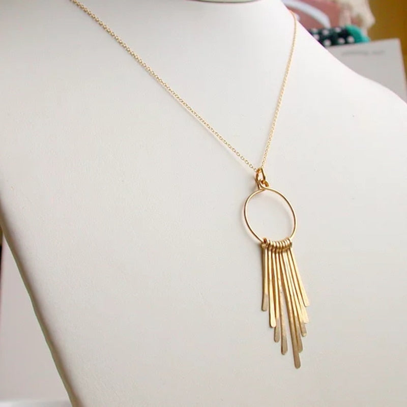 Feather Hoop Necklace