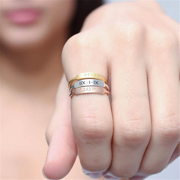 Stackable Custom Name Bar Rings