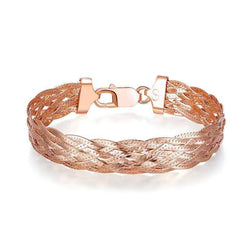 Thick Italian Braid Bracelet in Rose Gold