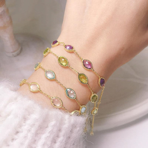 Gold Chain Link Gem Bracelet