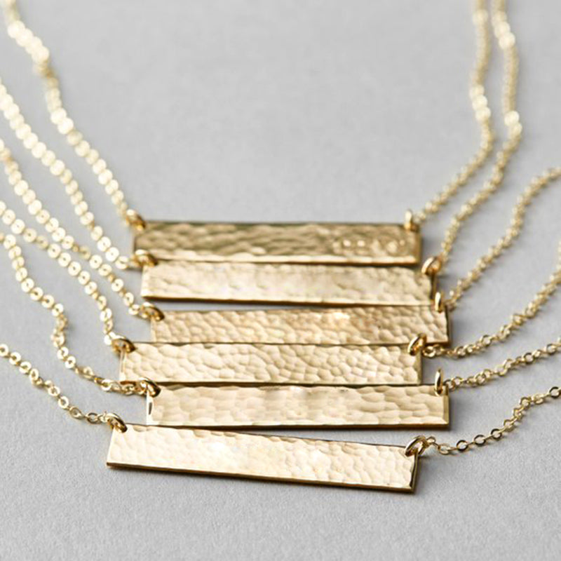 Rippled Gold Bar Necklace