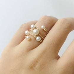 White Pearl Burst Spiral Ring