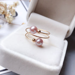 Spiral Pink Pearl Ring