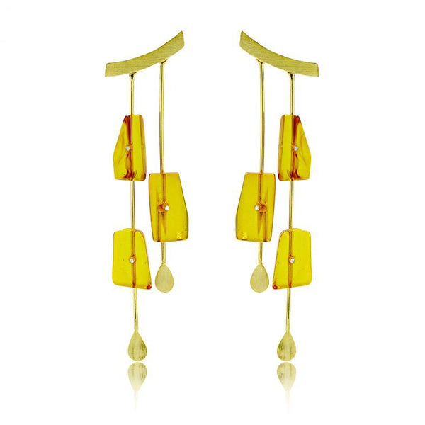 Falling Rain Earrings with Amber