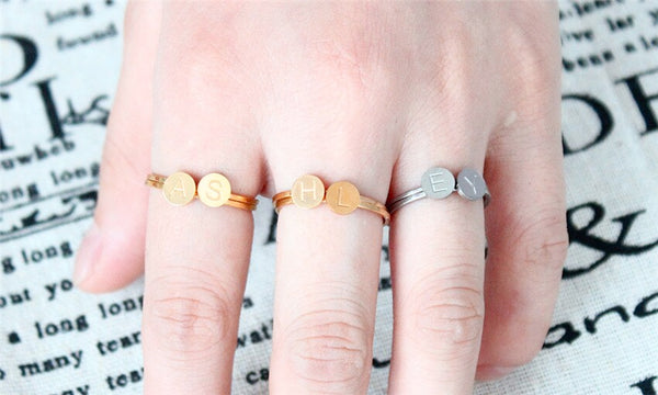 Stackable Stainless Steal Initial Ring