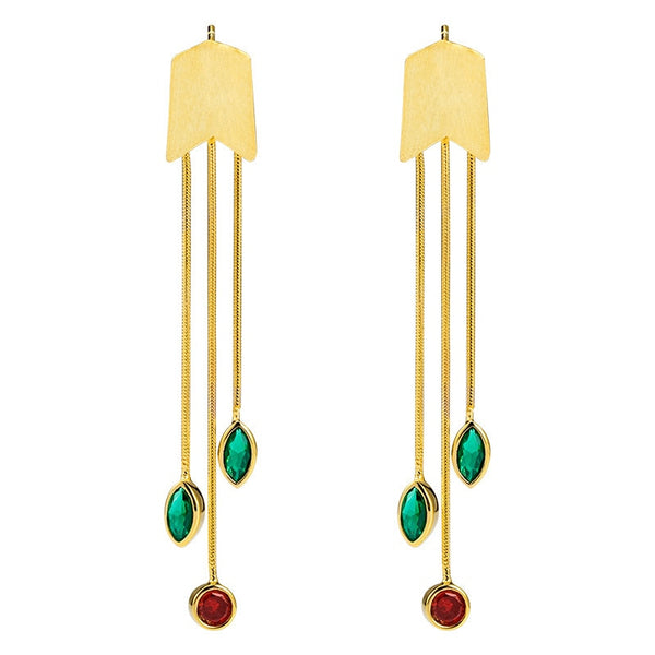 Multi Color Gem Tassel Earrings