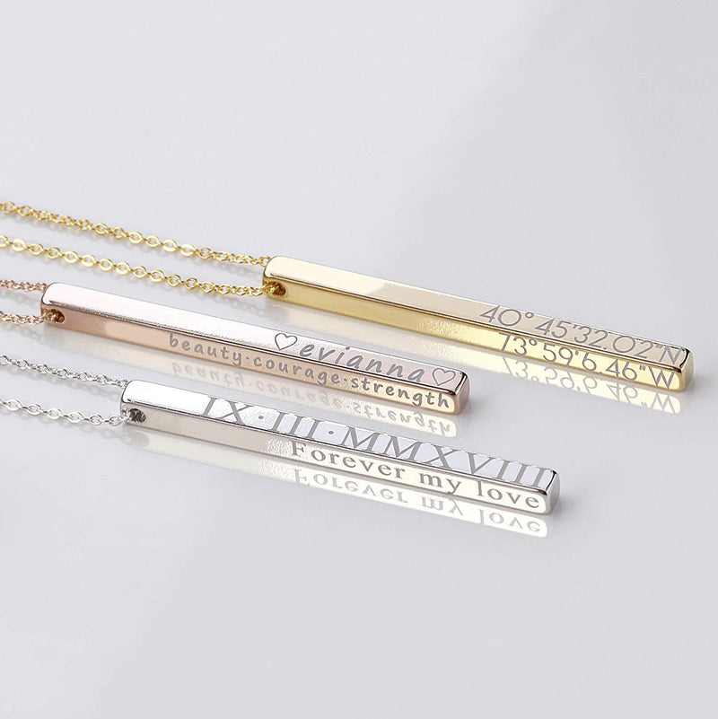 Love DNA Engraved Bar Necklace