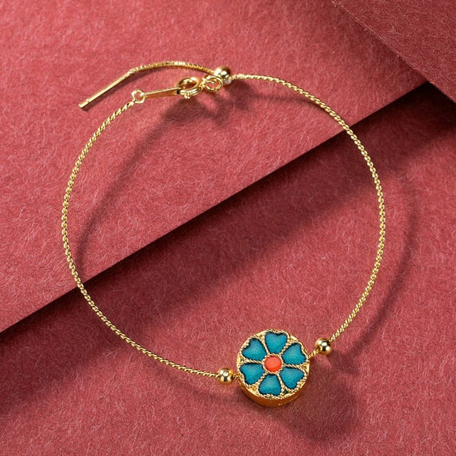 Glass Windmill Gold Bracelet
