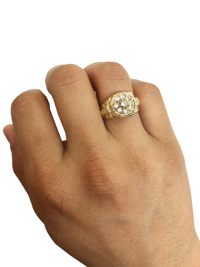 Floral Zirconia Ring (14K Gold)
