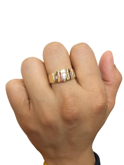 Simple White Stone Ring (14K Gold)