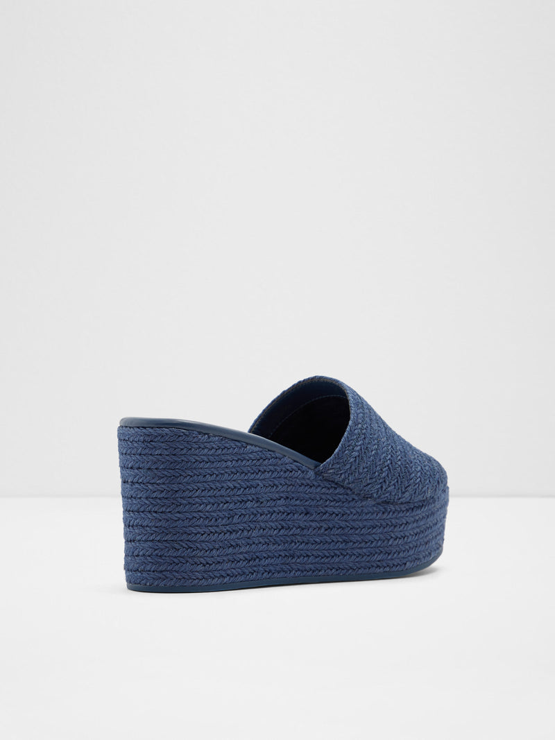 Blue Wedge Mules
