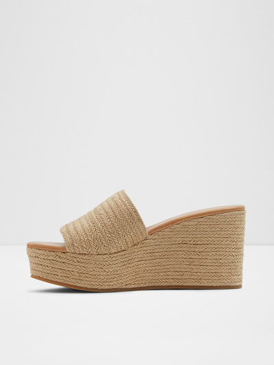 Aldo Beige Wedge Mules