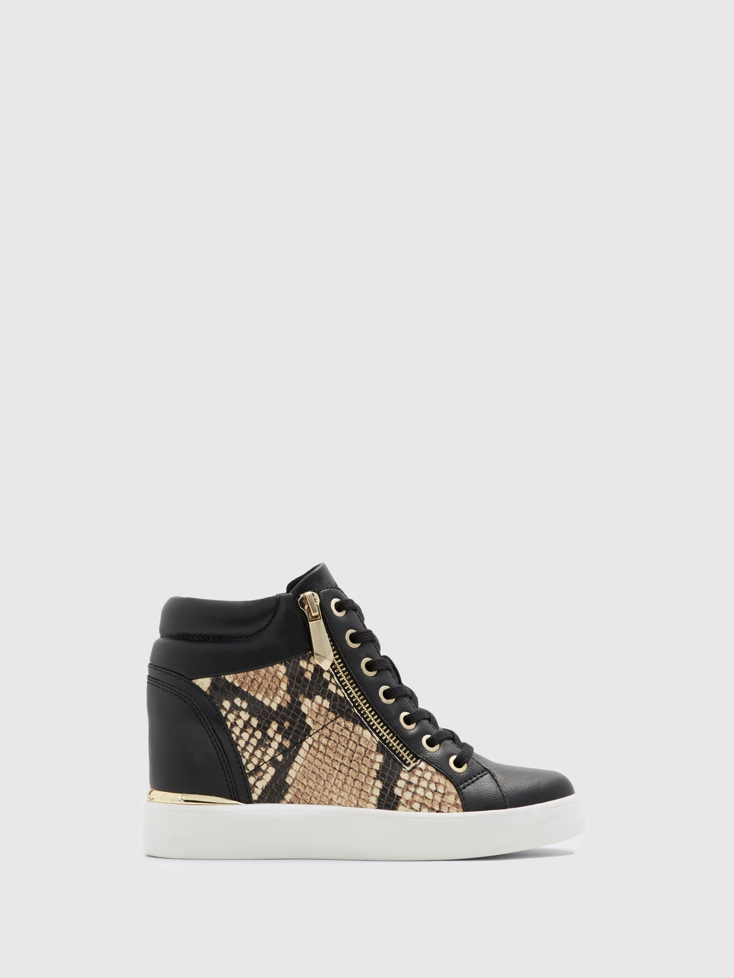 Aldo Tan Black Hi-Top Trainers