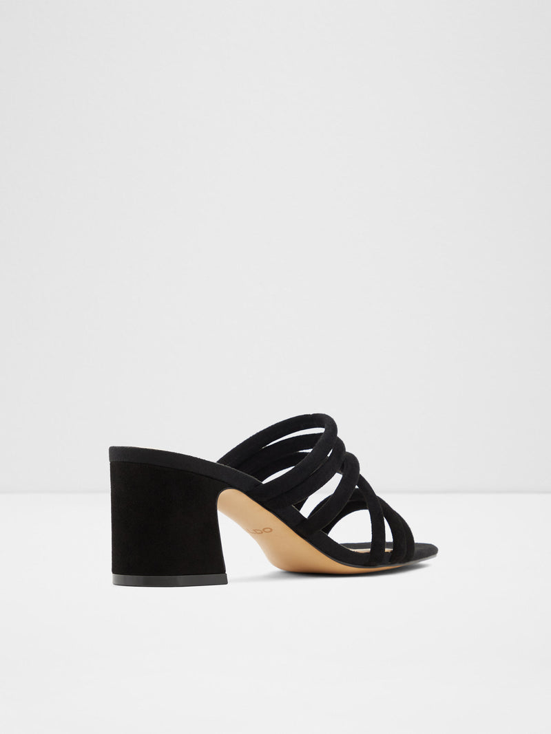 Black Strappy Mules