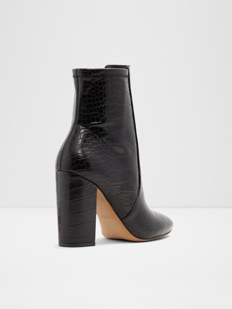 Black Leather Round Toe Ankle Boots