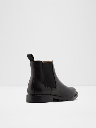 Aldo Black Leather Chelsea Ankle Boots