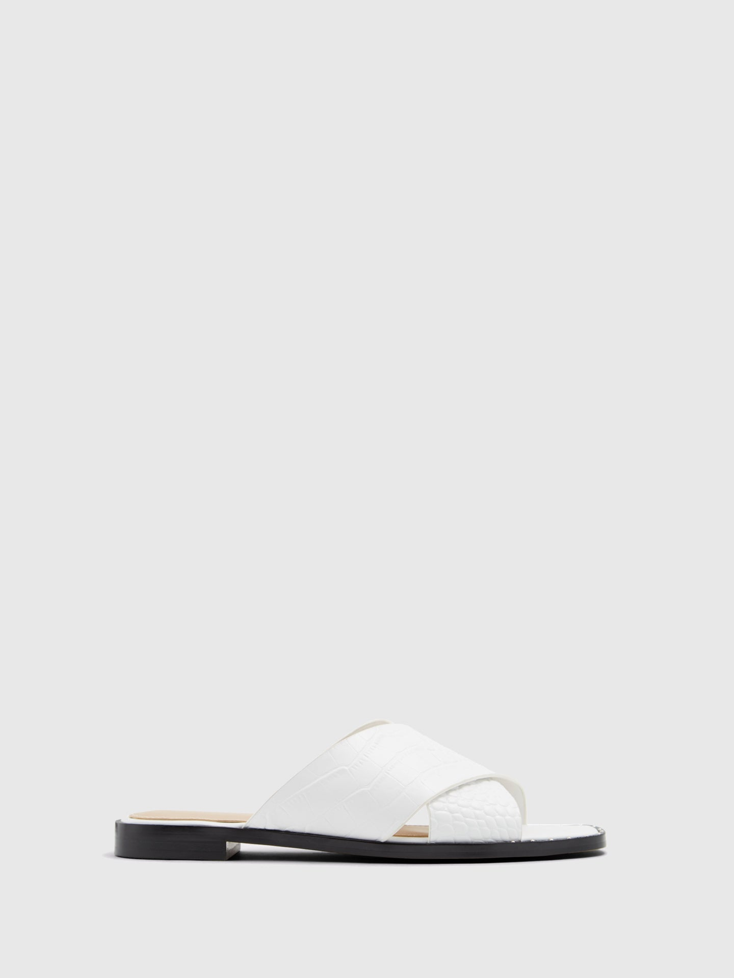 Aldo White Open Toe Mules
