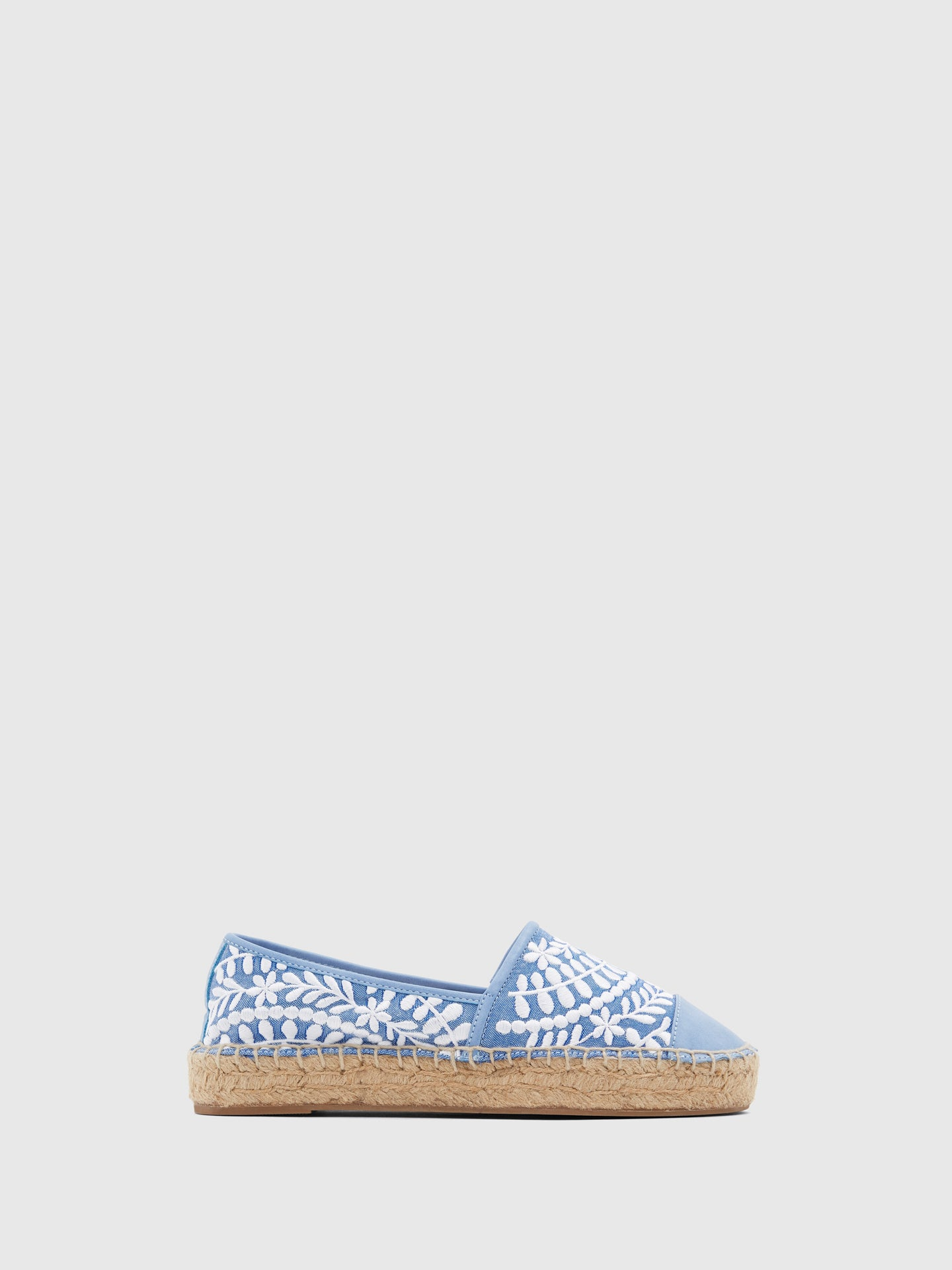 Aldo Blue White Embroidered Espadrilles