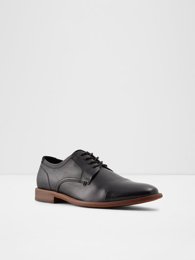 Aldo Black Leather Derby Shoes