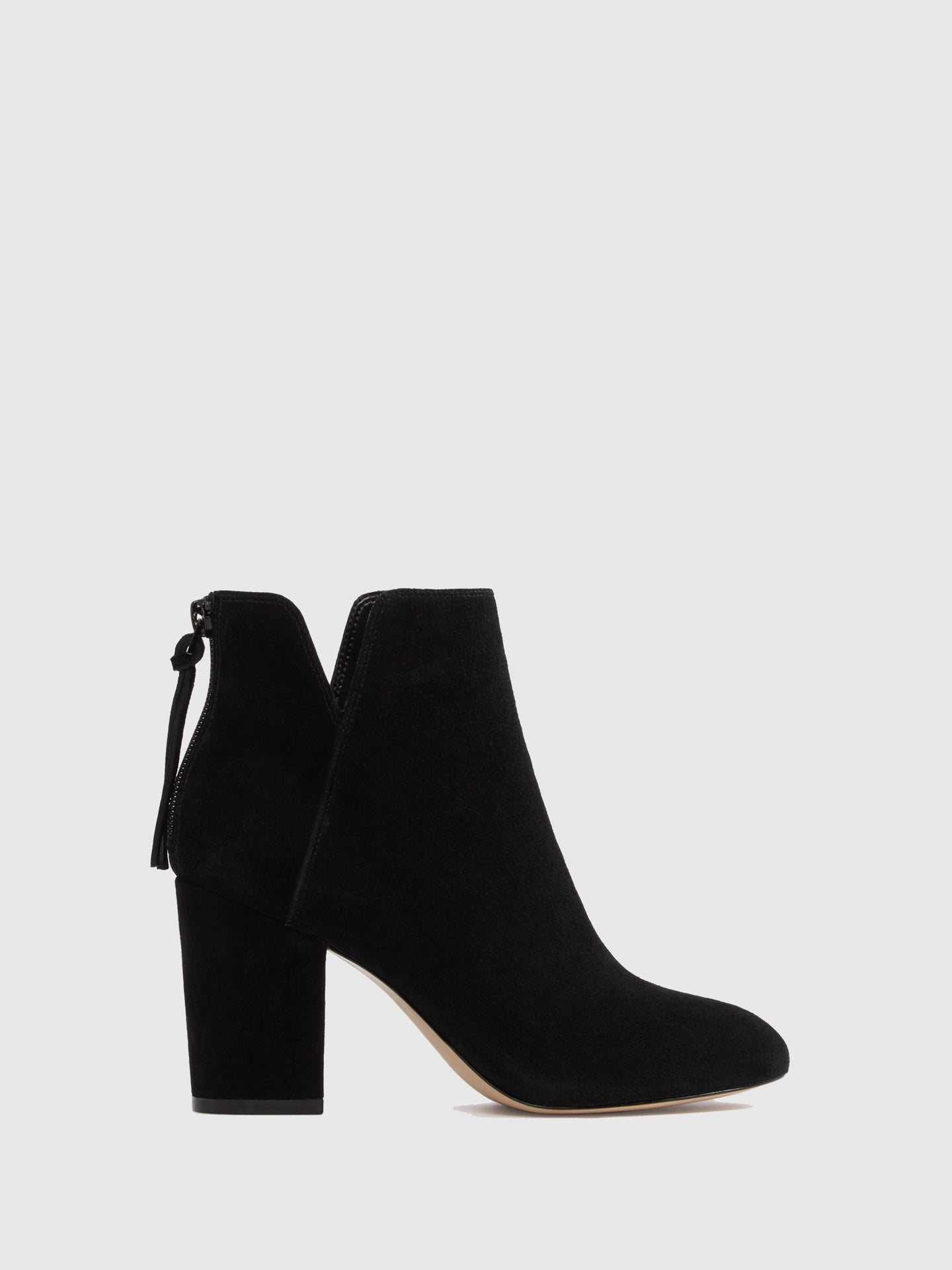 Aldo Black Suede Zip Up Ankle Boots