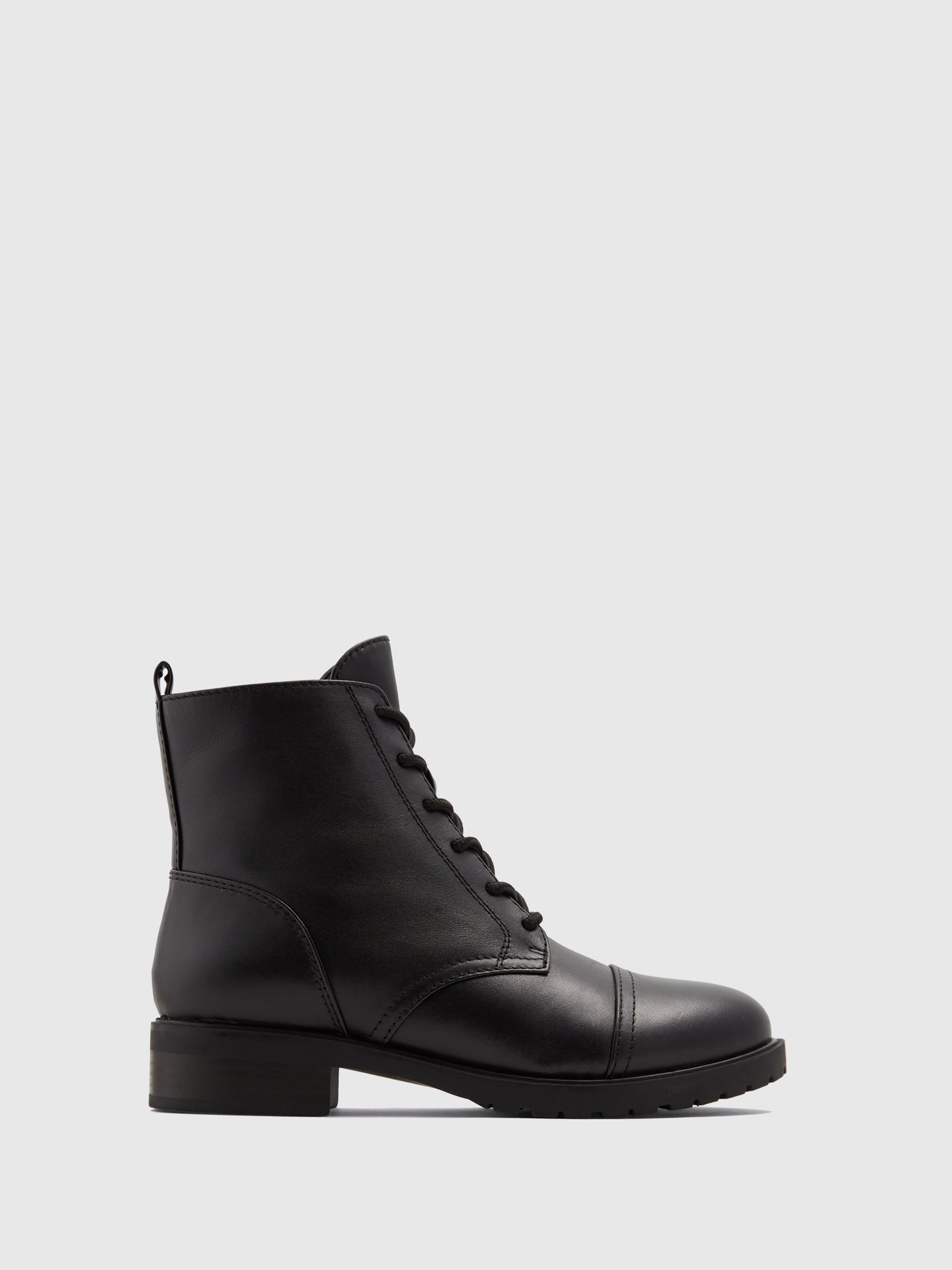 Aldo Black Leather Zip Up Boots