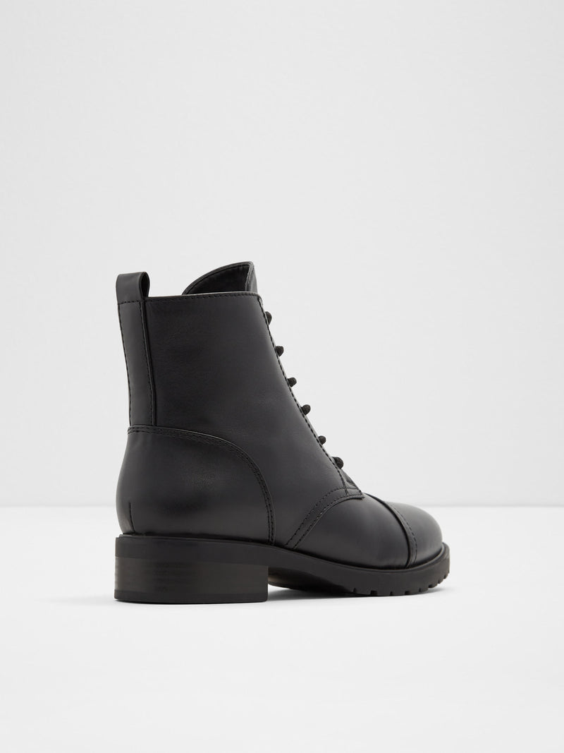 Black Leather Zip Up Boots