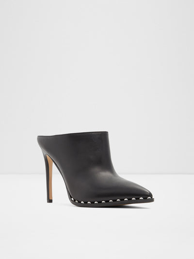Aldo Black Leather Pointed Toe Mules