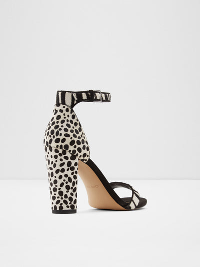 Aldo Black White Ankle Strap Sandals