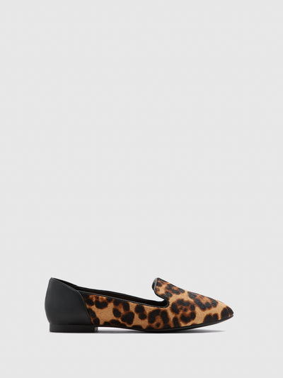 Aldo Brown Black Round Toe Ballerinas
