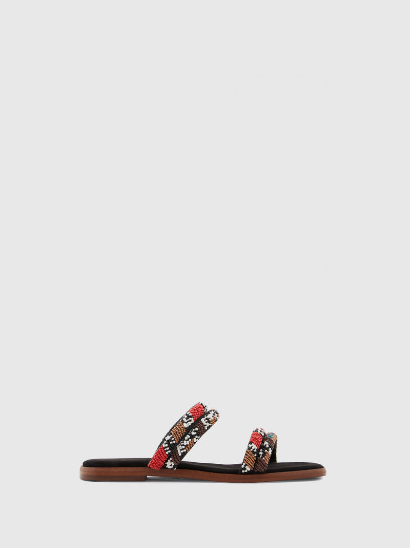 Aldo Red Black Thong Flip-Flops